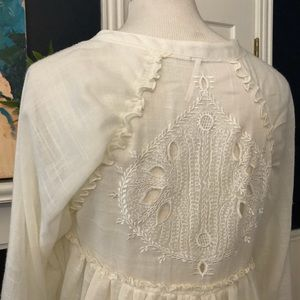Free People Blouse White Lace Eyelet Back - XS